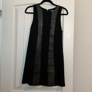 Alice + Olivia shift dress w/ leather inserts. 6